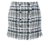 Front-buttoned Reflective Tweed Mini Skirt