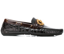 Medusa croco-embossed loafers