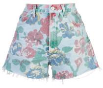 Jeans-Shorts mit Blumen-Print