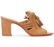 weave and tassel front sandals