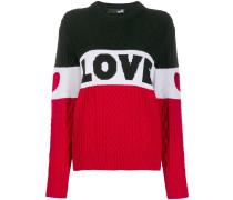 'Love' Pullover in Colour-Block-Optik
