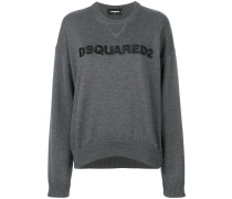 logo embroidered knitted jumper