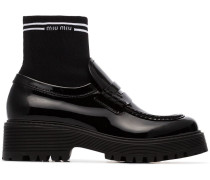 sock insert patent leather loafers