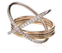 18kt 'XXO' Goldring mit Diamanten
