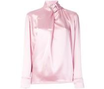 satin buckle-neck blouse