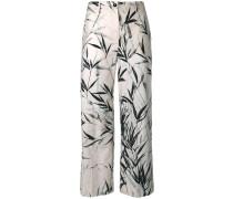 Cropped-Hose mit Blätter-Print