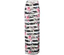 striped floral print skirt