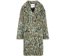 Einreihiger Mantel mit Leoparden-Print