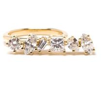Offset bar diamond ring