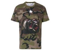 Monkey Brothers motif camouflage T-shirt