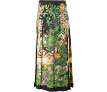 deer print pleated midi skirt