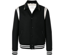 studded collar college jacket