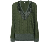 tinsel fringe cable knit sweater