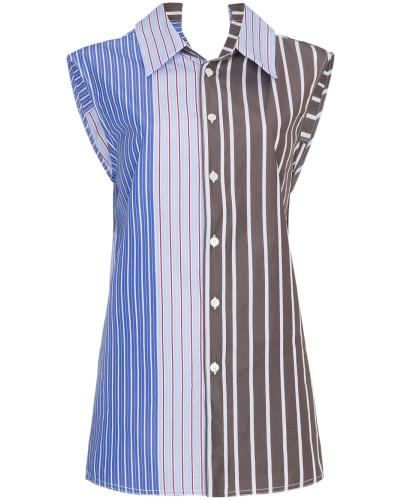 Ärmellose Bluse mit Streifenmix