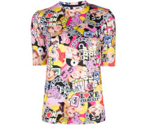 T-Shirt mit Collagen-Print