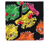 Wollschal mit Intarsien-Tigermotiv