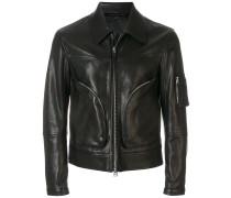 collared zip front biker jacket