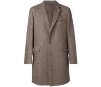 Einreihiger Mantel mit Fischgrätenmuster