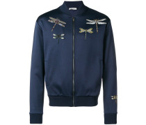 dragonfly embellished bomber jacket