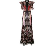 Besticktes Kleid mit gerüschten Ärmeln