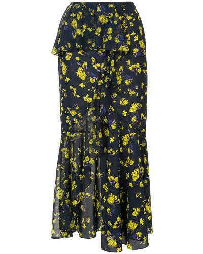 floral printed asymmetric skirt
