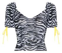 'Zebra' Cropped-Top aus Netzstoff