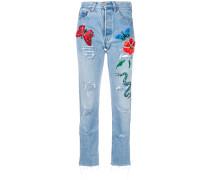 Distressed-Jeans mit Stickerei
