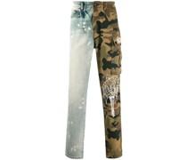 Jeans mit Camouflage-Einsatz
