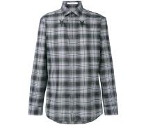 star print checked shirt