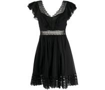 Popeline-Kleid mit Spitzeneinsatz
