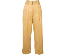 wide belt cropped trousers