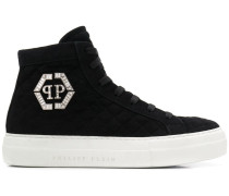High-Top-Sneakers mit Logo-Schild