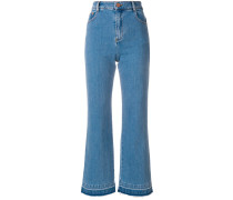 Cropped-Jeans mit Schlag