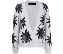 sequin palm tree v-neck sweater