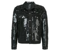sequinned distressed denim jacket