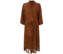 belted fringe coat