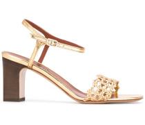 Metallic-Sandalen mit gewebtem Riemen