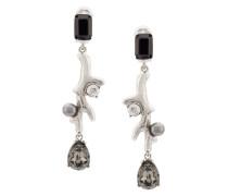 coral crystal earrings