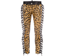 buckle-embellished leopard print trousers