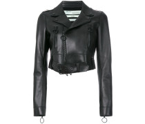Cropped-Bikerjacke mit Stickerei