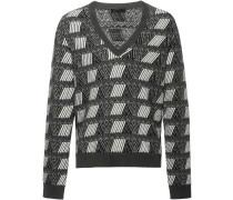 jacquard V-neck sweater