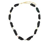 Vergoldeter 18kt Choker mit schwarzen Perlen
