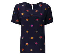 Seiden-T-Shirt mit Blumen-Print