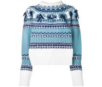 fringed detail jacquard sweater