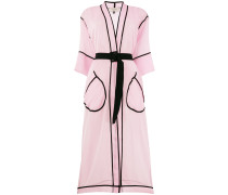 contrast piped belted kimono coat