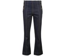 Schmale Cropped-Jeans mit Ziernähten