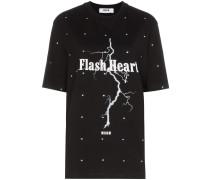 'Flash Heart' T-Shirt mit Kristallen