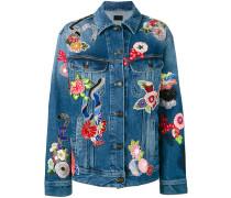 Jeansjacke mit Blumenstickerei