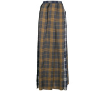 raw edge pleated skirt