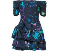 printed frill drape mini dress